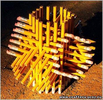 скульпутра из карандашей без клея своими руками в домашних условиях